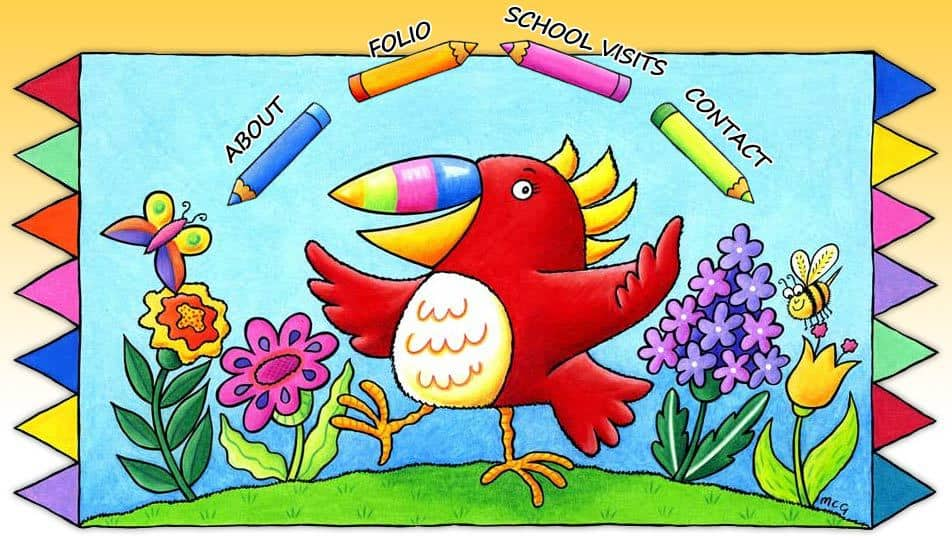 Picture of a big bird drawn by Marjory, and the website menu (About, Folio, School Visits, Contact)